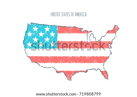 Usa Map Hand Drawn Sketch Vector Stock Vector Shutterstock - Us map sketch