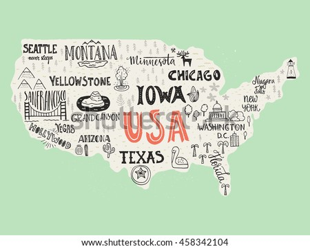 Poster Map United States America State Stock Vector - Hand drawn us map vector