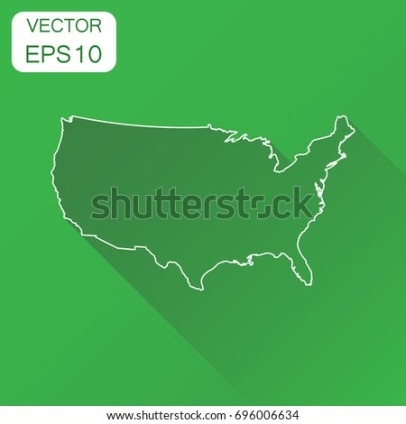 United States America Map Black Contour Stock Vector - Us map outline vector