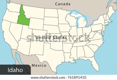 Usa Map Idaho Stock Vector 761891410 Shutterstock