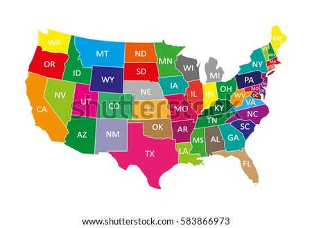 Usa map in colors