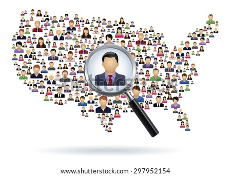 USA map made of people: Search Concept - stock vector