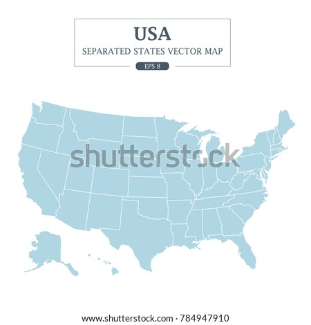 USA Map Mono Color High Detail Separated all states Vector Illustration