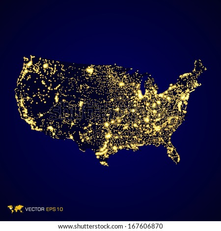 Usa map night light in vector format - stock vector