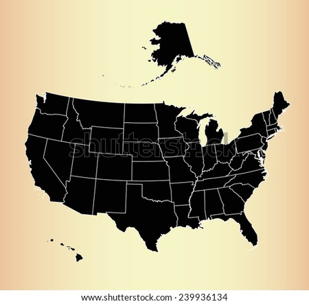 USA map on an old background paper - stock vector