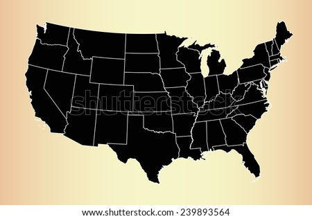 USA map on an old paper background - stock vector