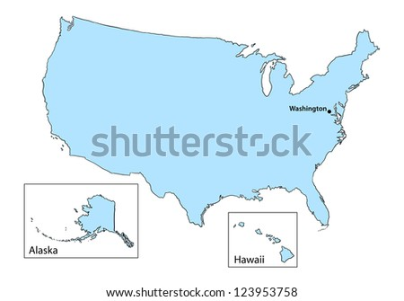 USA map on white background - stock vector