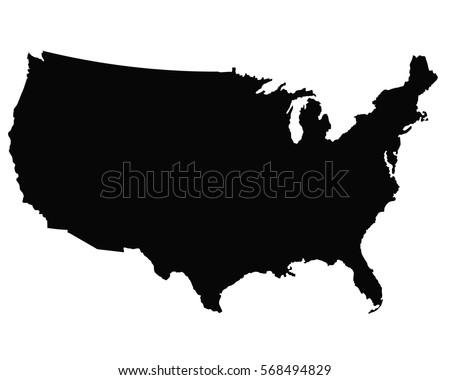 Usa Map Outline Vector Stock Vector Shutterstock - Usa outline