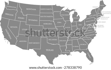 USA map outlines with capital location and name, Washington DC, vector map of United States with boundaries or polygons of US states and their names - stock vector