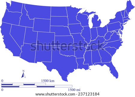 USA map outlines with mileage and kilometer scales, vector map of United States with boundaries or polygons of states in blue color - stock vector
