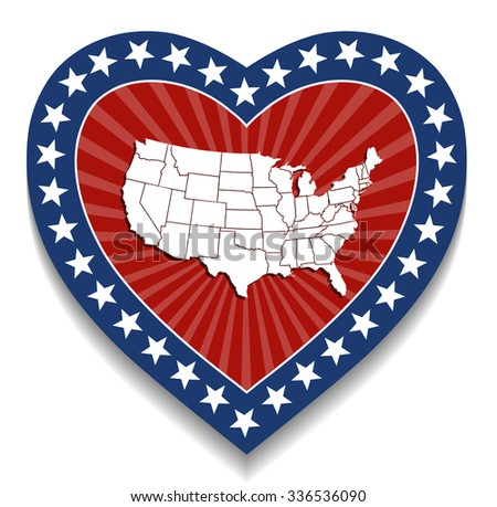 USA Map  - Patriotic Heart Design - stock vector
