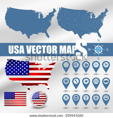USA map set with gps and flag icons - stock vector