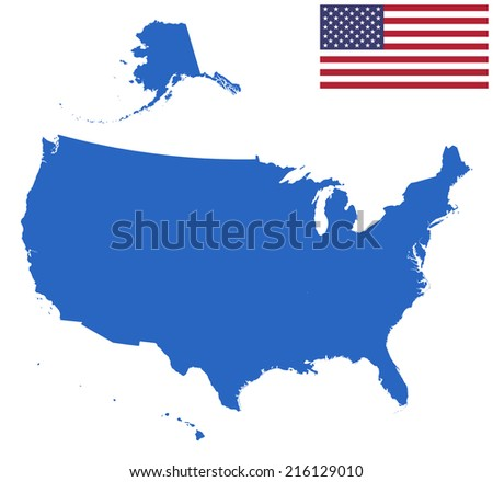 USA Map silhouette with Flag.
