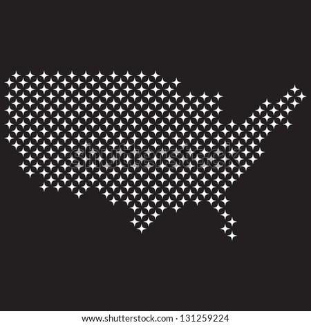 USA map stars - stock vector