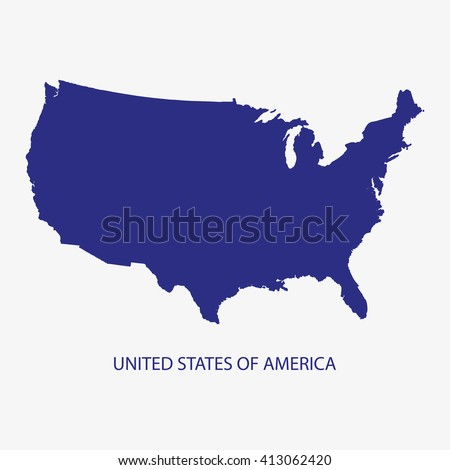 USA MAP, US MAP, UNITED STATES OF AMERICA MAP silhouette illustration vector - stock vector
