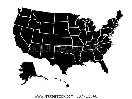 Blank Outline Map Usa Stock Vector 475545799 Shutterstock