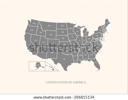USA map vector, United States map outlines with light grey background, states names, and capital location and name, Washington DC - stock vector