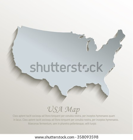 USA map white blue card paper 3D vector - stock vector