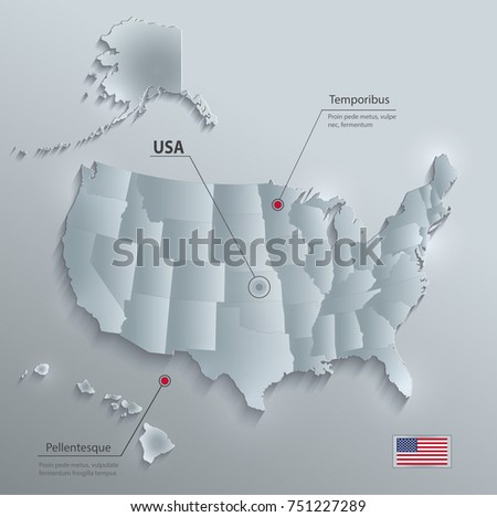 Usa Map Alaska Hawaii Separate States Stock Vector - Usa map with alaska and hawaii