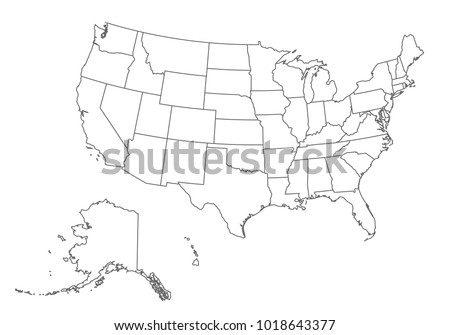 Usa Map Outline Vector Map Flag Stock Images,...
