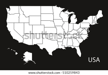 Usa Map Federal States Black White Stock Vector - Map united states black and white