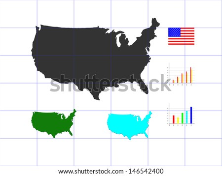 USA map with flag and graph