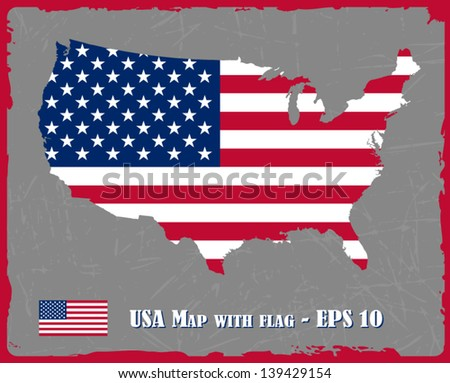 USA Map With Flag On Grey Background Vector Illustration - stock vector