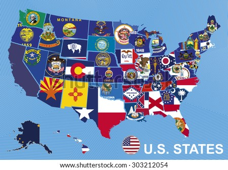 USA map with flags of states, on blue background with Alaska and Hawaii - stock vector