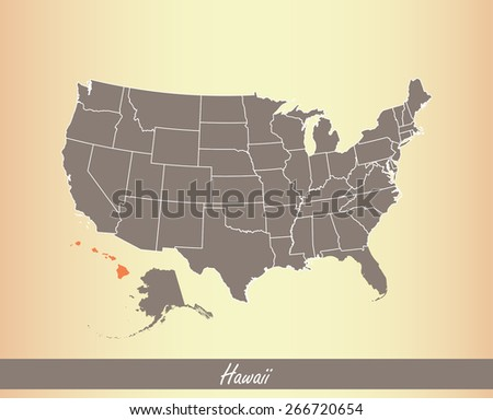 USA map with highlighted state of Hawaii, on an old paper background - stock vector