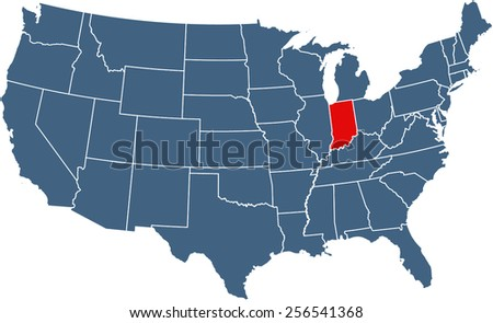 USA map with highlighted state of Indiana - stock vector