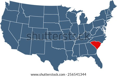 USA map with highlighted state of South Carolina - stock vector