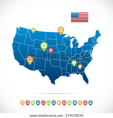 USA Map with Icons - stock vector