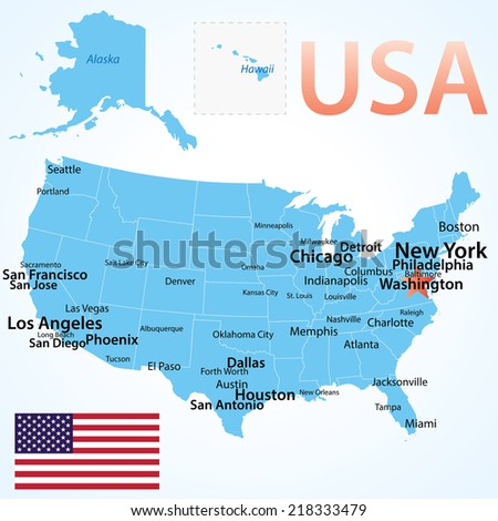 usa map with largest cities carefully scaled text by city population geographically correct