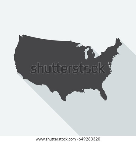 Silhouette Usa Map United States America Stock Illustration - Us map interactive edit