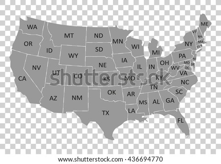 Usa Map Name Countriesunited States America Stock Vector - Us map with countries