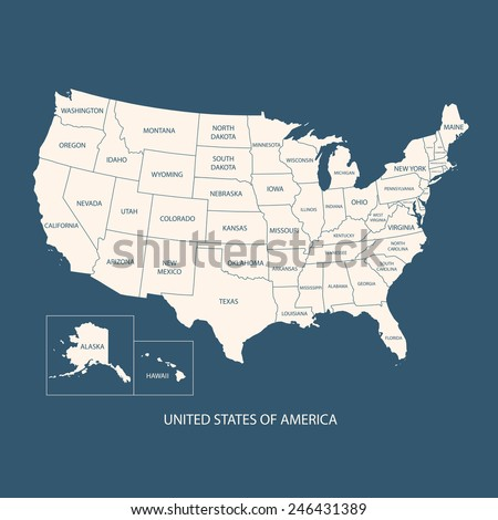 USA MAP NAME COUNTRIESUNITED STATES AMERICA Stock Vector 2018