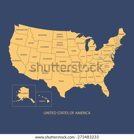 Usa Map Name Countriesunited States America Stock Vector - The united states map with names