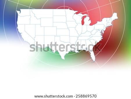 USA Map with Radar Background (Vector Illustration) - stock vector
