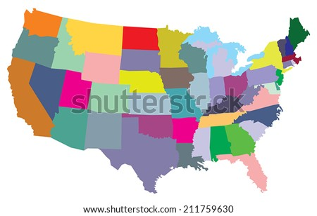 Usa Map States Stock Vector Shutterstock - Usa map and states