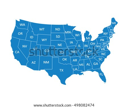 Usa Map States Stock Vector 498082474 Shutterstock