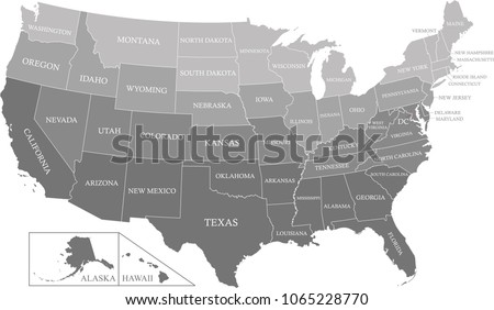 USA Map States Labeled Gray Scale Stock Vector 1065228770 - Shutterstock
