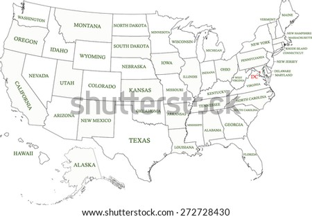 USA map with states names and capital's location and name, Washington DC, map of United States with highlighted light grey color among states - stock vector
