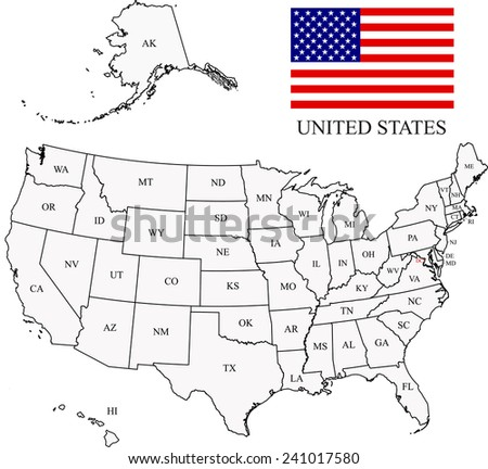 USA map with states names and flag  - stock vector