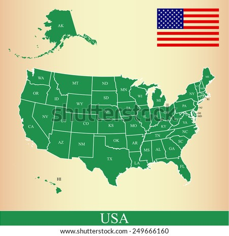 USA map with states names, flag, and a background  - stock vector