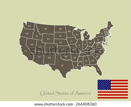 USA map with states names, flag, background, and capital name, Washington DC - stock vector