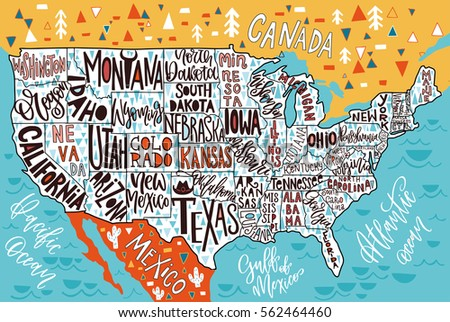 Usa Map States Pictorial Geographical Poster Stock Vector 2018
