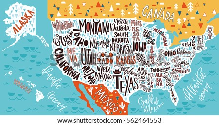 State Stock Images RoyaltyFree Images Vectors Shutterstock - Usa map with state