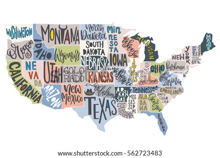 Usa Map States Pictorial Geographical Poster Stock Vector - Us Map With States Outlined Vector