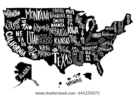 usa map with states pictorial geographical poster of america hand drawn lettering design for