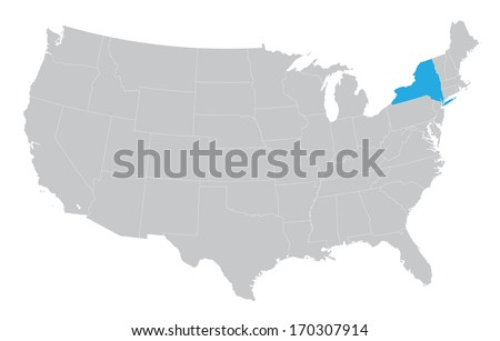 USA map with the indication of the State of New York - stock vector